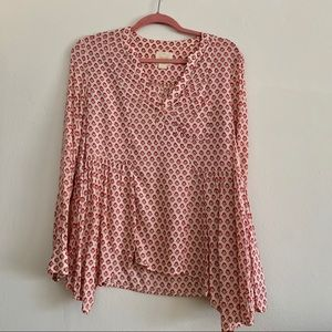 Maeve Pink Anthropologie Flowy Blouse